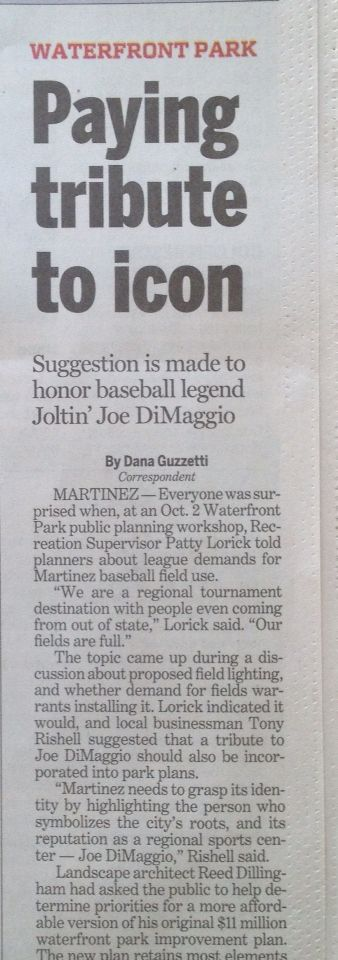 Let's promote ourselves to the Region!  (In the Contra Costa Times, Pleasant Hill / Martinez Record Section, Friday, October 31, 2014)