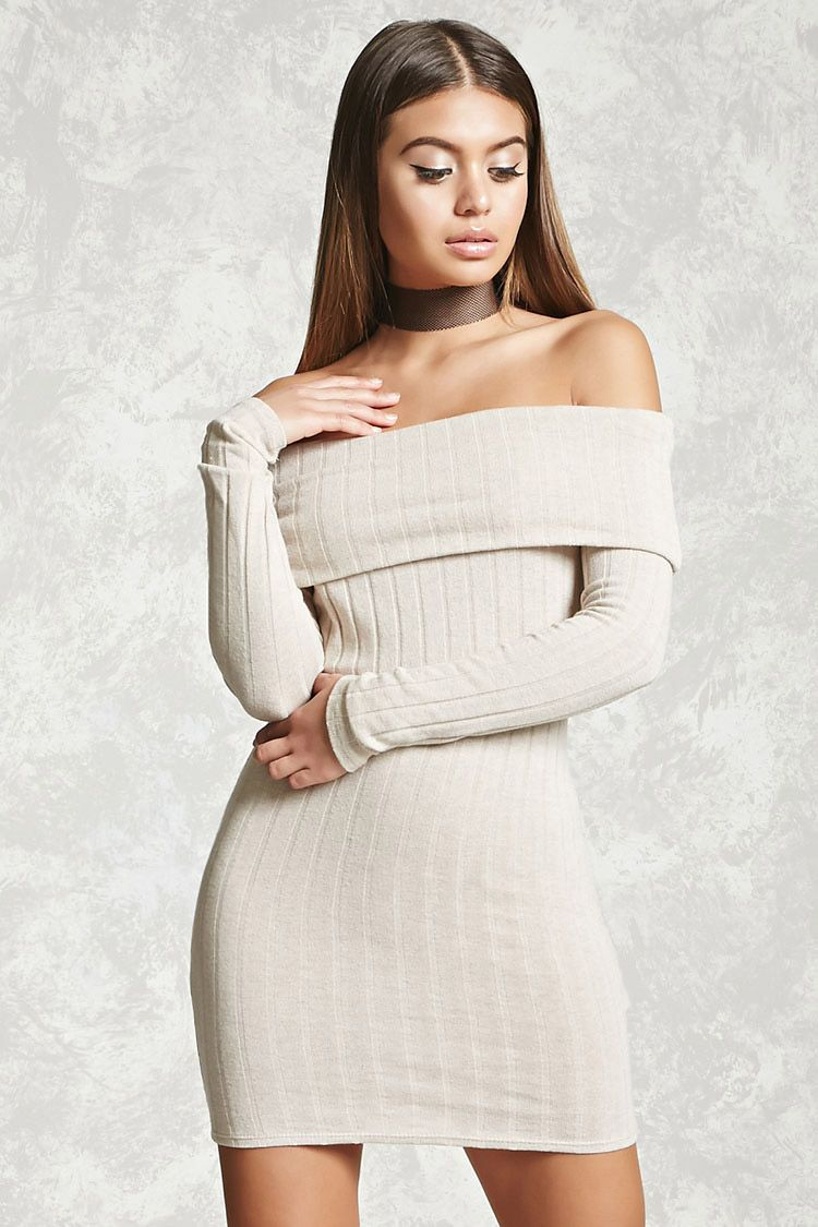 4a73c32393b5 A ribbed knit dress featuring an off-the-shoulder neckline with a fold-over  detail, long sleeves, and a bodycon silhouette.