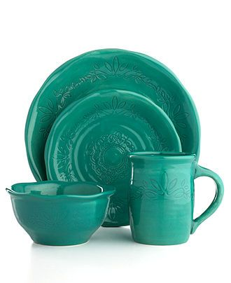 A Collection Of Teal Dinnerware Available From Macy S