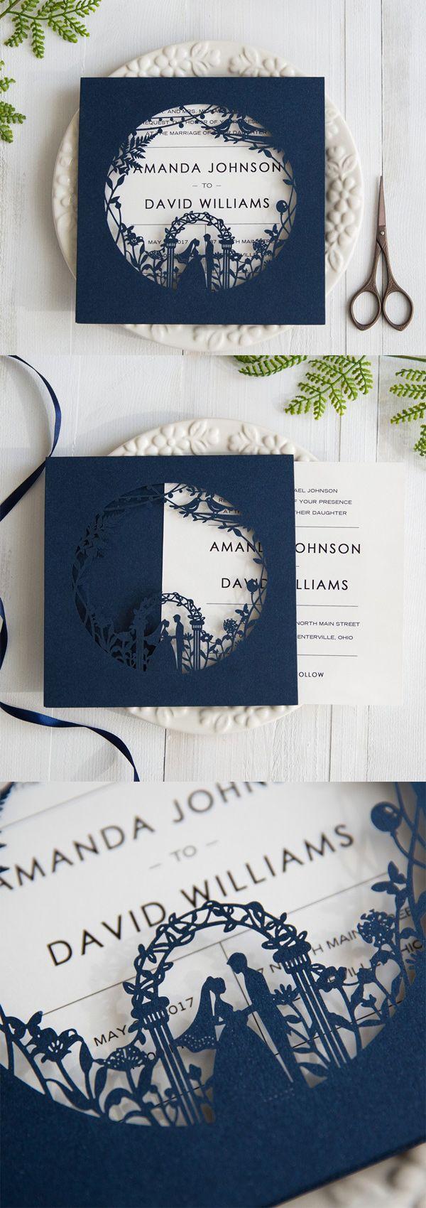 Garden Themed Navy Blue Laser Cut Wedding Invitations SWWS025 ...