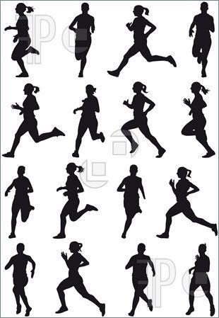 Woman Runner Running Marathon Silhouette Clipart