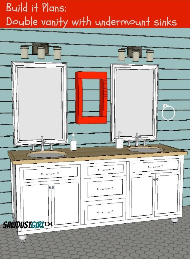 Double Vanity With Center Drawers Free Plans Sawdust Girl