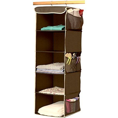 Zober 5 Shelf Hanging Closet Organizer For Accessory And Clothes Storage |  Canvas Hanging Shelves For Shoe Hanging Storage (Java)