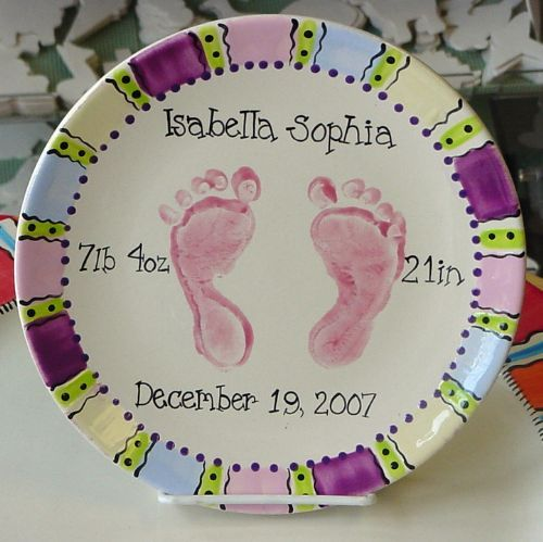 Paint your own pottery handprints our paintin place for Handprint ceramic plate ideas