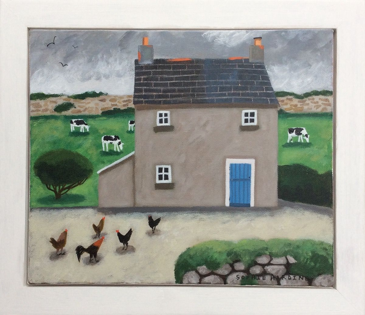 Little Farmhouse original acrylic painting on canvas by Sophie Harding