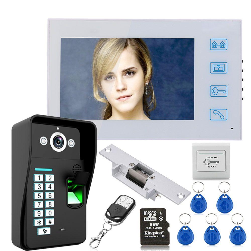 7 Hd Recording Fingerprint Rfid Video Door Phone Intercom Doorbell System Kit With 8g Tf Card With No Electric Strike Door Loc Video Door Phone Intercom Phone