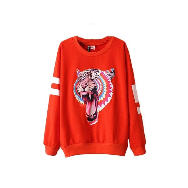 Western Style Loose Tiger Pattern Crew Neck Cheap Hoodies