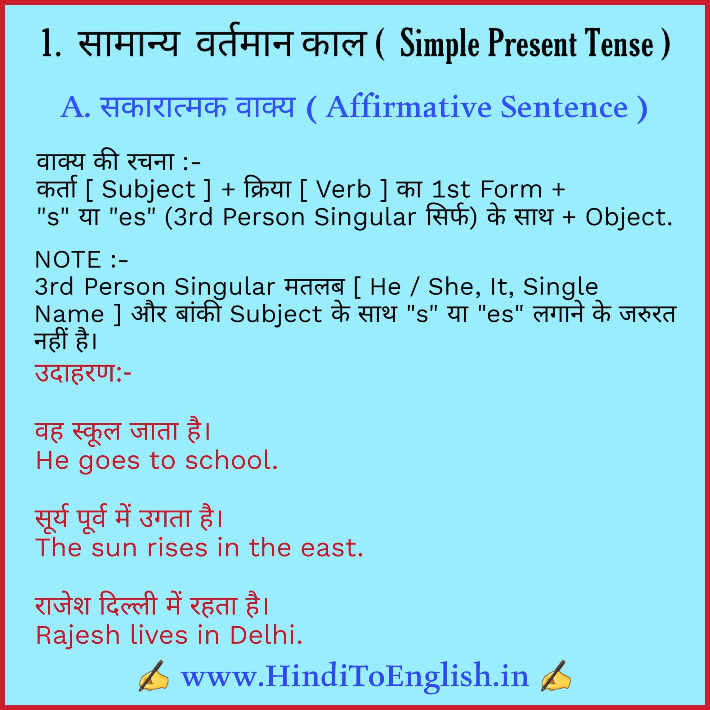 Simple Present Tense In Hindi Affirmative Sentence