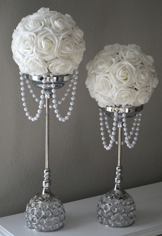 WHITE Flower Ball With DRAPING PEARLS White Wedding