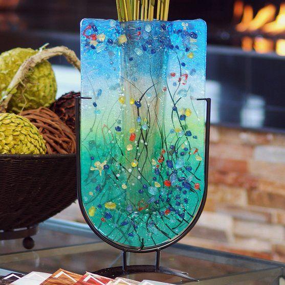 Jasmine Art Glass Fused Glass Tall U Vase Glass Art Fused Glass Art Fused Glass