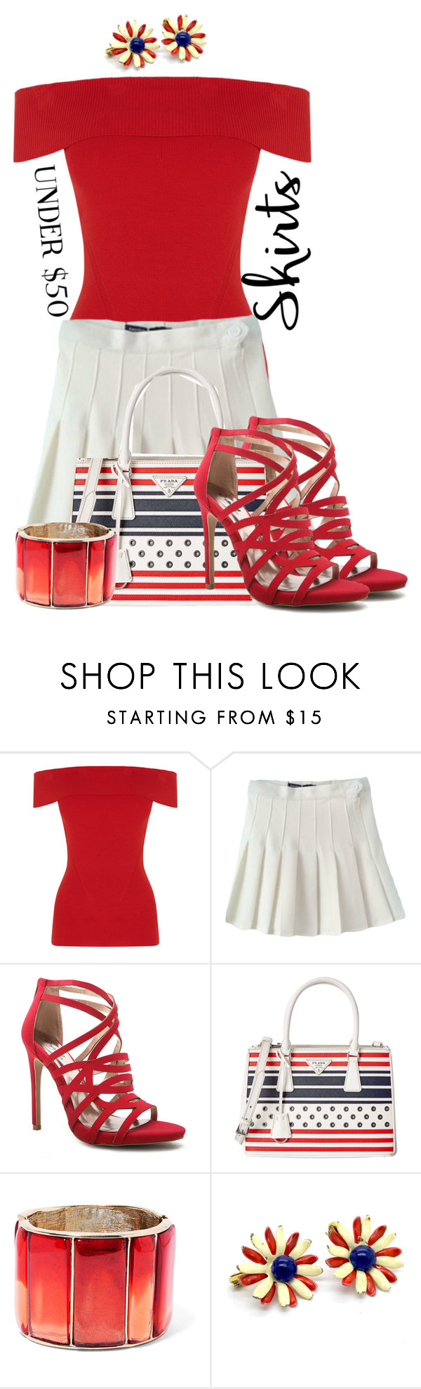 """Skirts Under $50"" by tlb0318 on Polyvore featuring Oasis, Qupid, Prada and Oscar de la Renta"
