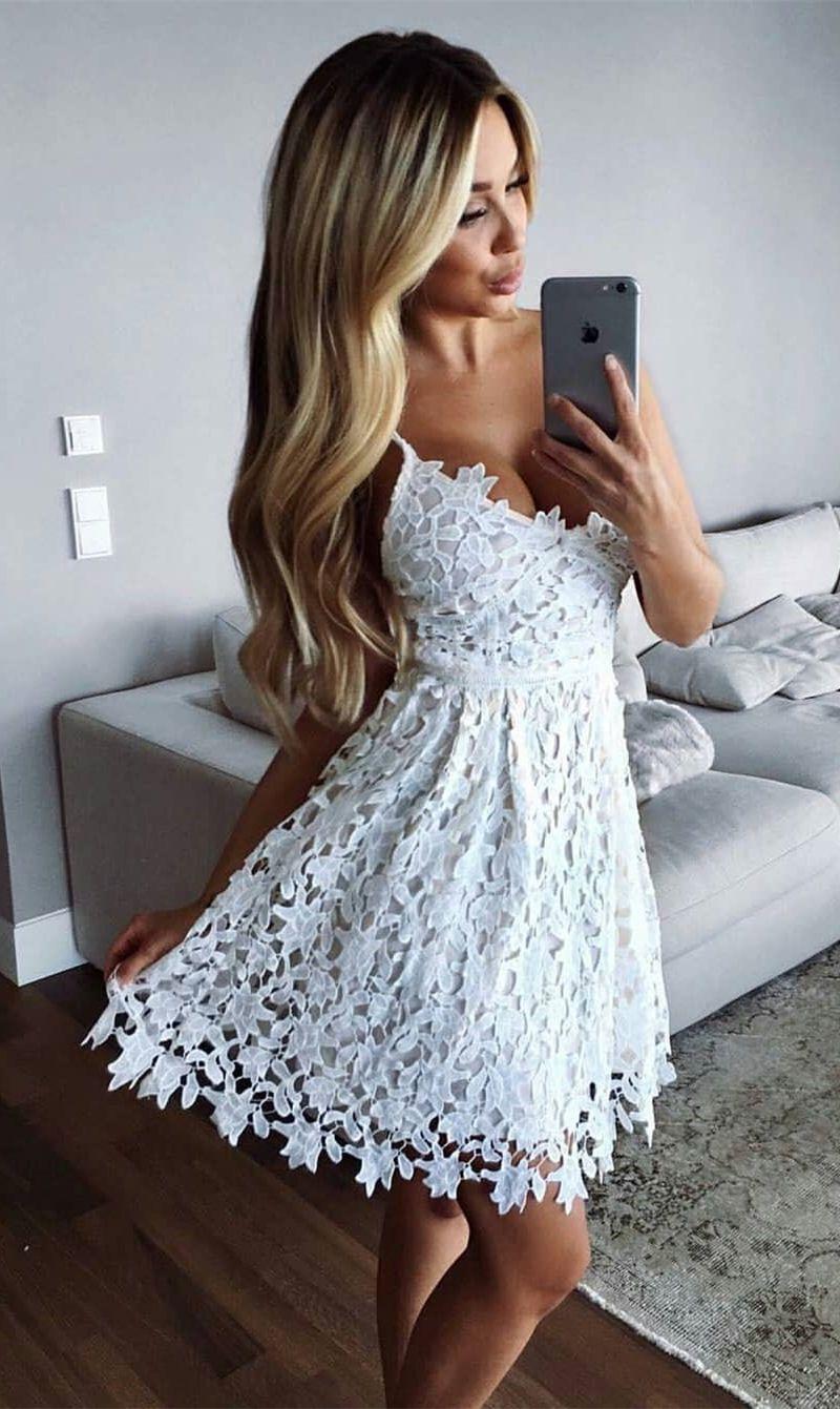A Line Spaghetti Straps Above Knee White Lace Homecoming Dress Satin Homecoming Dress Lace Homecoming Dresses Homecoming Dresses [ 1341 x 800 Pixel ]