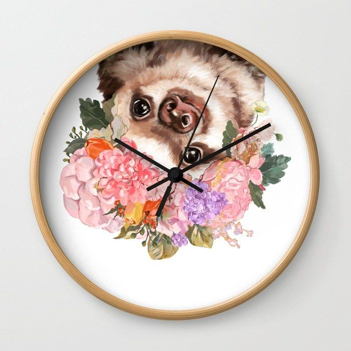 Buy Baby Sloth with Flowers Crown in White Wall Clock by