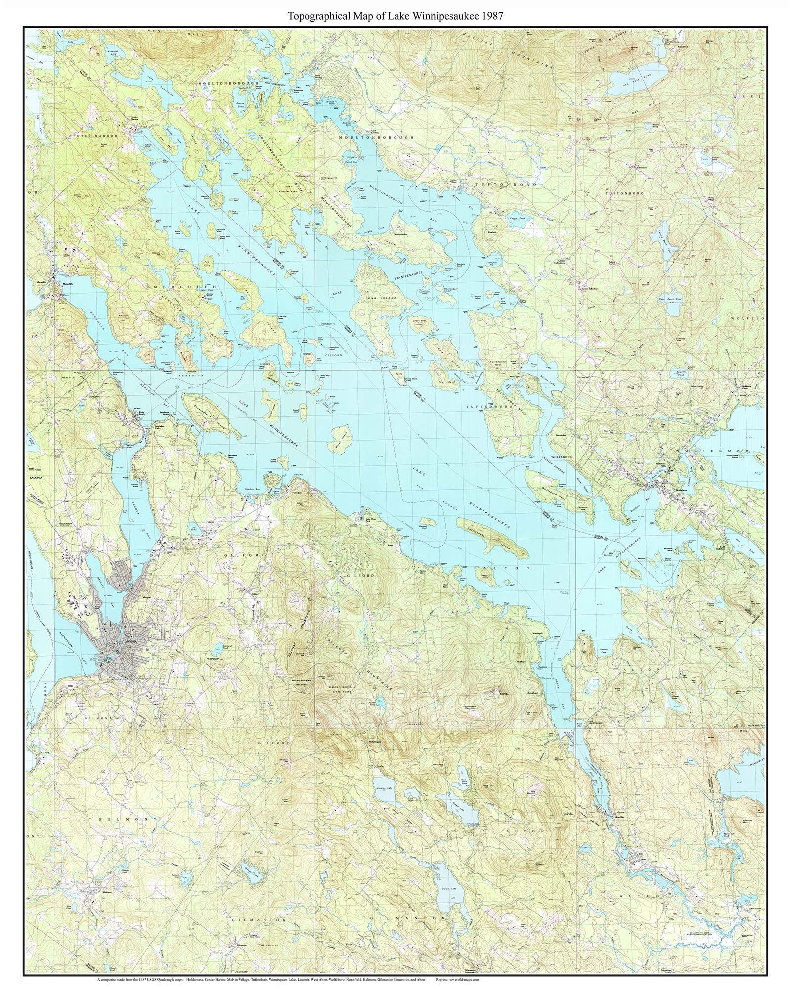 map of lake winnisquam nh Lake Winnipesaukee Topographic Map Lake Winnipesaukee map of lake winnisquam nh