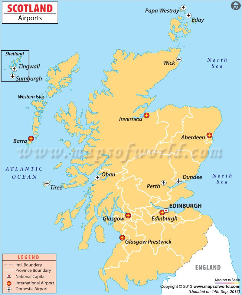 Scotland Airports Map | UK Maps & Images | Map, Scotland ...