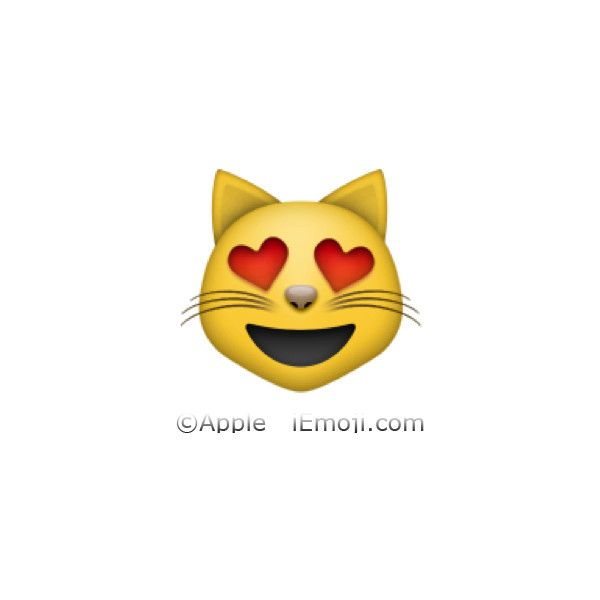 Smiling Cat Face With Heart Shaped Eyes Liked On Polyvore Featuring Emojis Fillers Emojis Transparent Iemoji And Pi Cat Emoji Cool Emoji Emoji Pictures