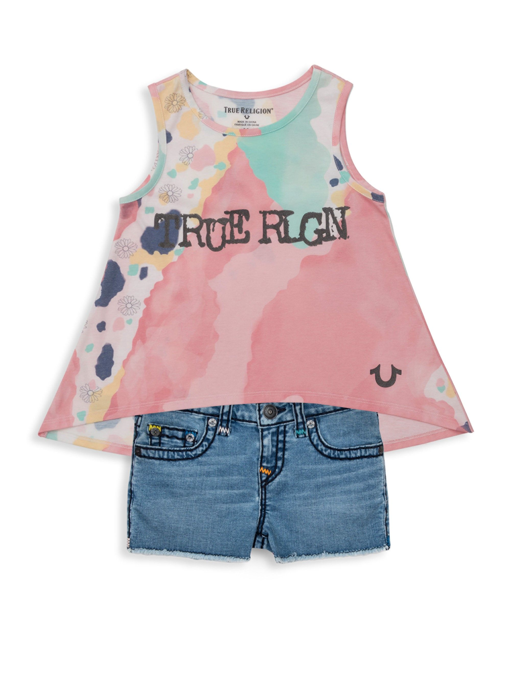 0ed2840c9 True Religion Little Girl s   Bobby Denim Cutoffs - Fossil Wash 14