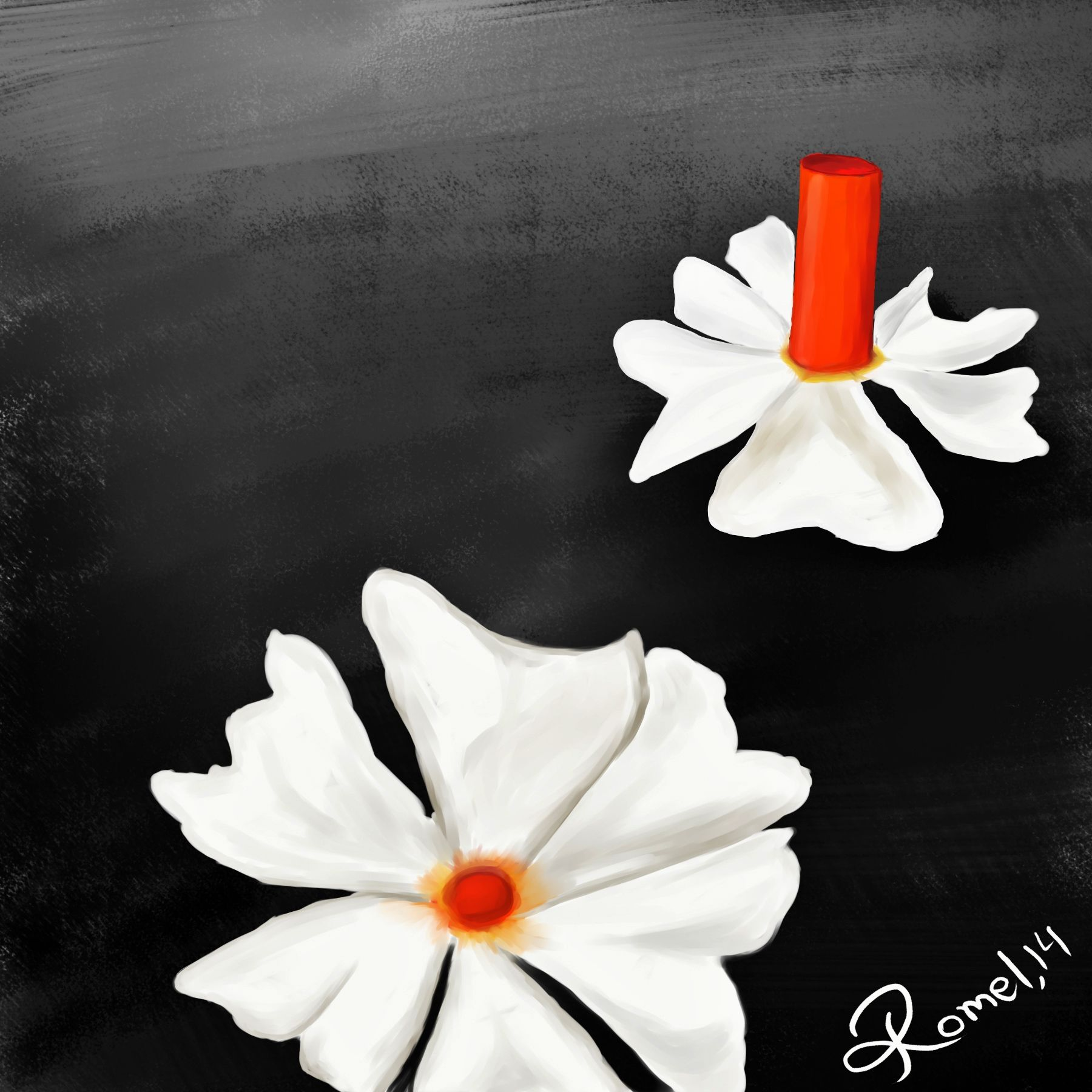 Night Flowering Jasmine In Bengali Which Is Called As Shiuly Painted With Paint Tool Sai And Photoshop Flower Painting Painting Hand Painted Dress