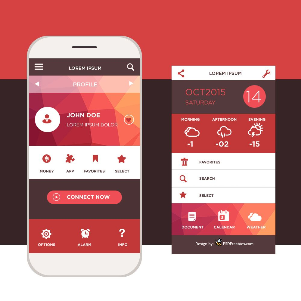 Home Design Ideas App: Freebie: Mobile Application Interface Design PSD