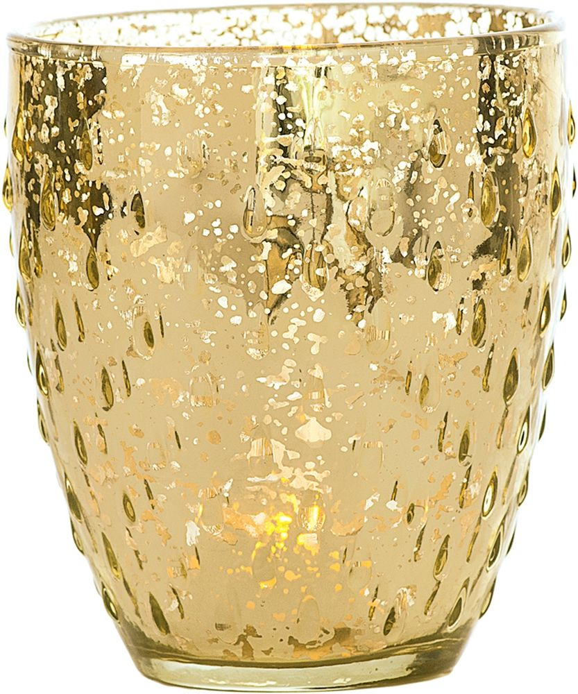 Vintage mercury glass vase or candle holder 525 inch rain drop gold mercury glass vase rain drop motif wedding by taarabazaar floridaeventfo Images
