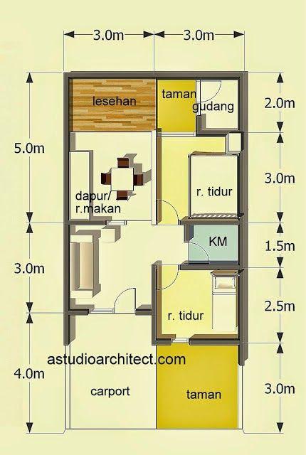 Denah Rumah Minimalis Type 60  Design di 2019  House
