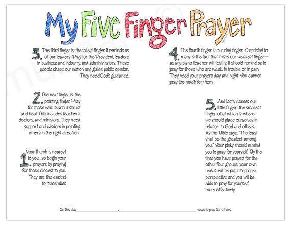My Five Finger Prayer hand print watercolor art print digital ...