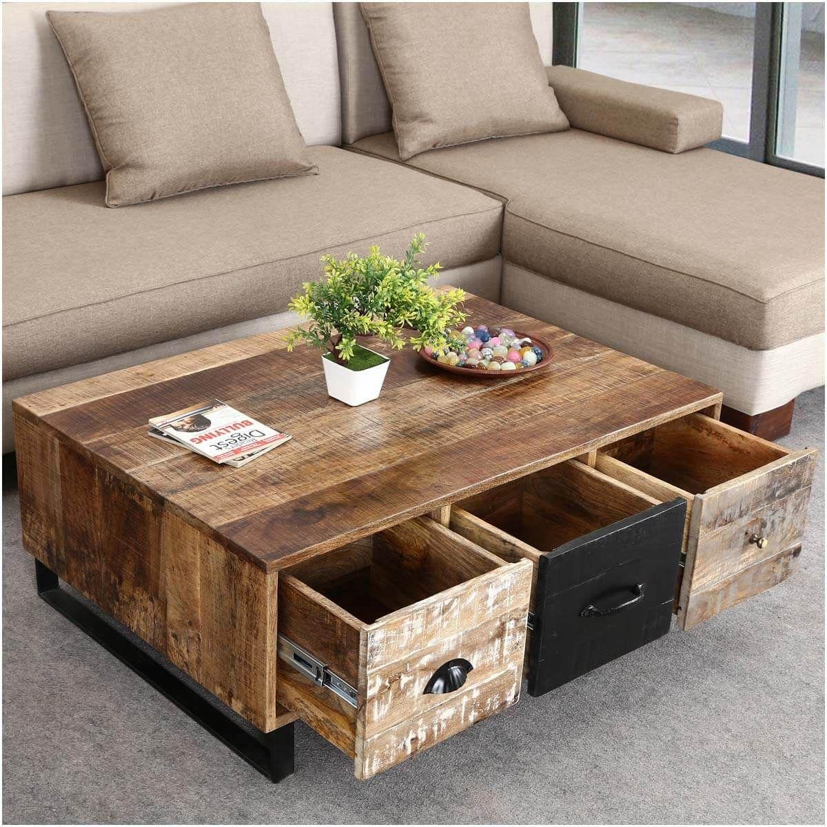 industrial pioneer mango wood  iron coffee table 3drawer