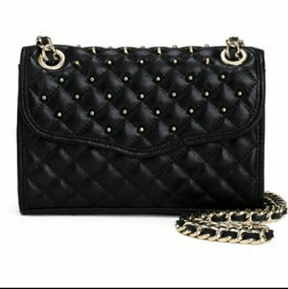 NWT Rebecca Minkoff Wallet on a Chain Studded Crossbody Clutch Saffaino Leather