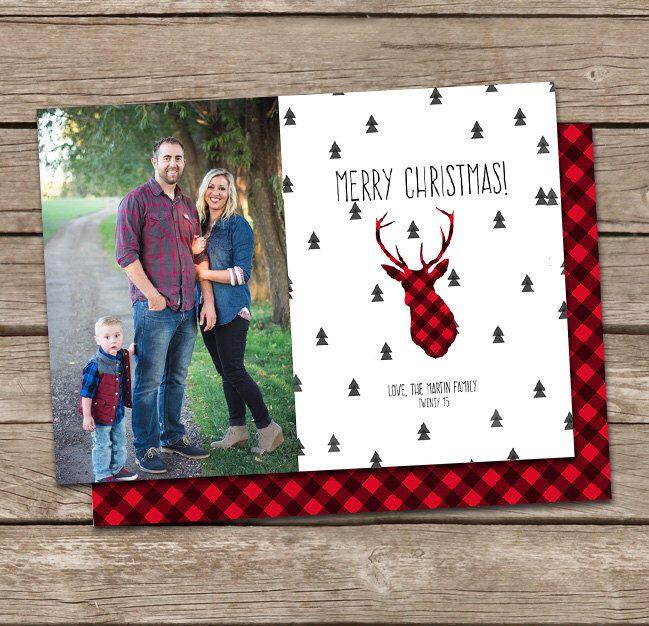 Photo Christmas Card Template Buffalo Plaid Deer Silhouette Merry - printable christmas card templates