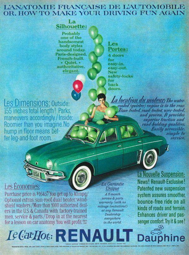 1960 Renault Dauphine Werbung Classic European Cars European Cars Renault