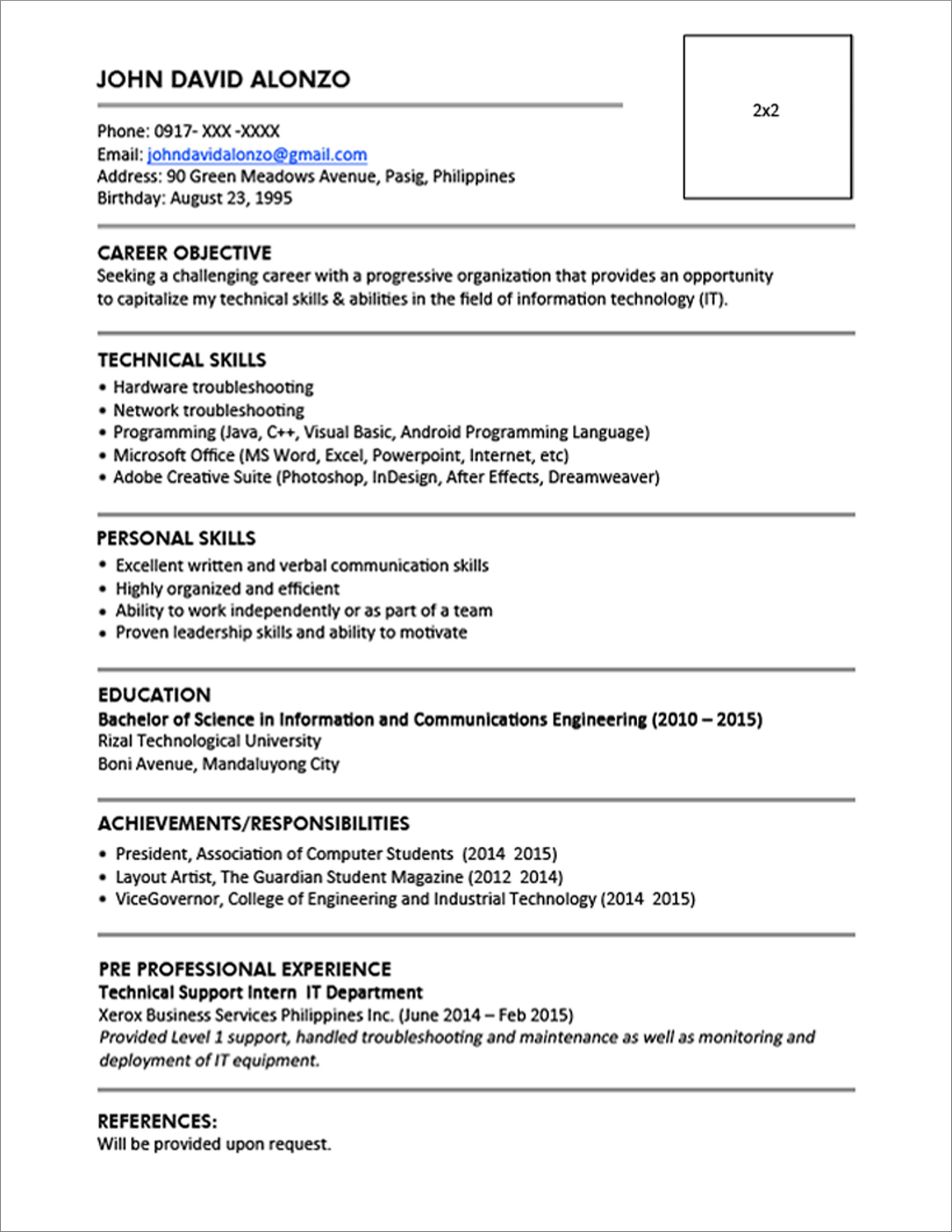 College Resume Sample Philippines