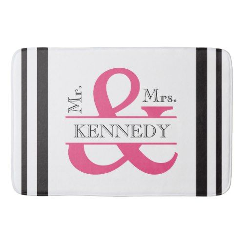 Custom Monogram Wedding Black White Hot Pink Bathroom Mat