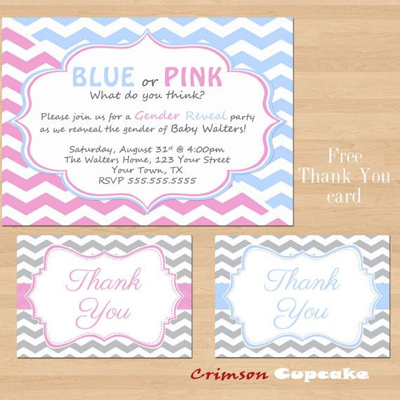 printable gender reveal party invitation diy blue or pink free thank you card - Free Printable Gender Reveal Party Invitations