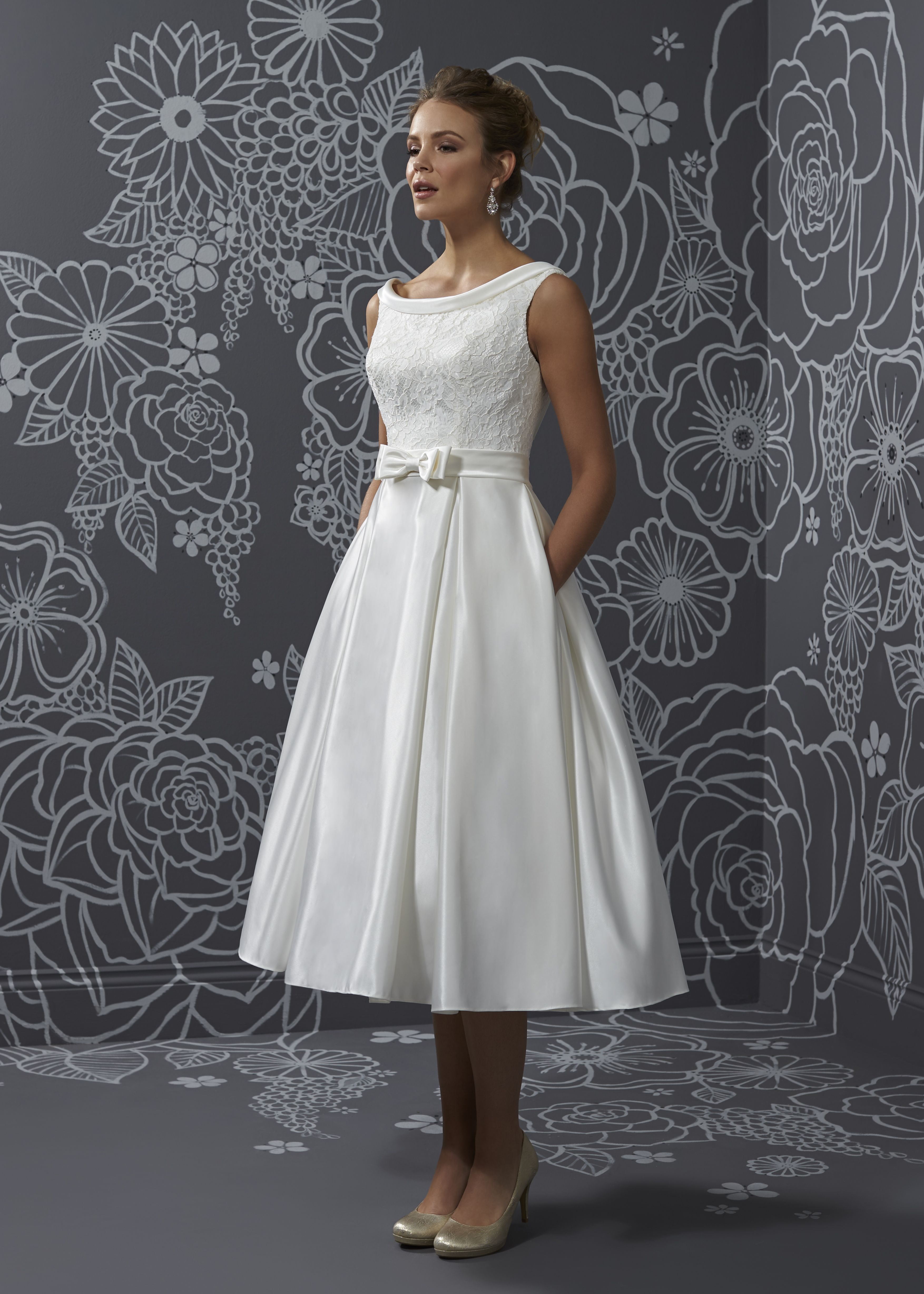 Janine Tea length wedding dress, Tea length wedding