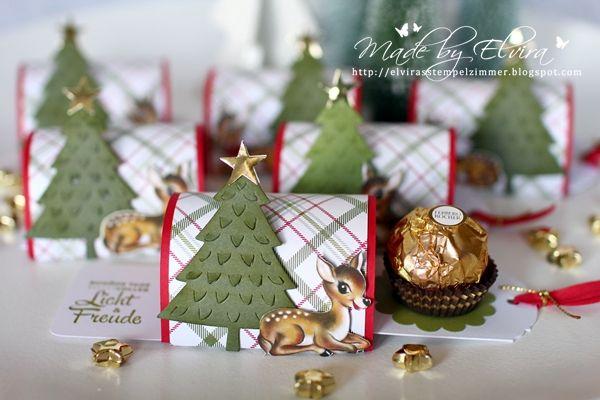 Für meine Workshop-Gäste hatte ich wieder kleine Goodies vorbereitet. Passend zum Thema Weihnachten gab es diese kleine Zieh-Verpackung, in den klassischen Weihnachtsfarben, Rot, Grün und Gold. Die Anleitung für diese Verpackung habe ich bei Alexandra gefunden, sie hat übrigens auch ein ganz tolles Anleitungs-Video dazu gemacht!  Folgende Produkte von Stampin' Up! kamen zum Einsatz: …