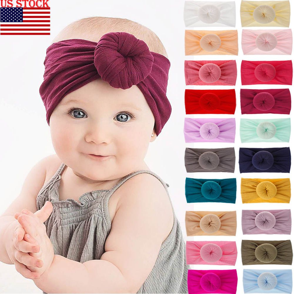 UK Girls Kids Baby Nylon Bow Hairband Headband Stretch Turban Knot Head Wrap Hot