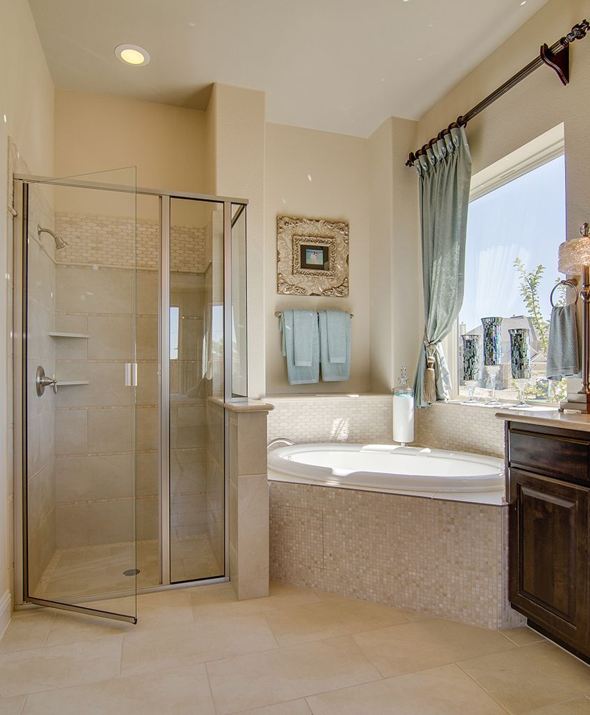 Gehan Homes Master Bathroom Light Blue Accents Cream Tile Pearl Remodel Bathroom Floor Bathroom Gallery Master Bathroom
