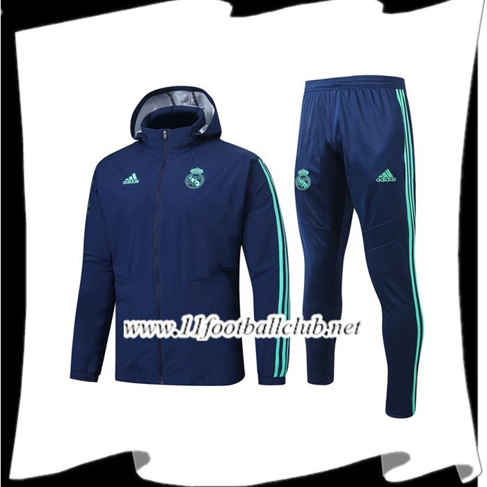Le Nouveaux Coupe Vent Survetement Foot Real Madrid Bleu
