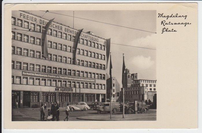 """Magdeburg, frühe DDR-typische AK, FDGB-Haus, HO Wandtext: \""""Die deutsche demokratische Republik, die Pflegestätte unserer humanistischen Kultur\"""""""