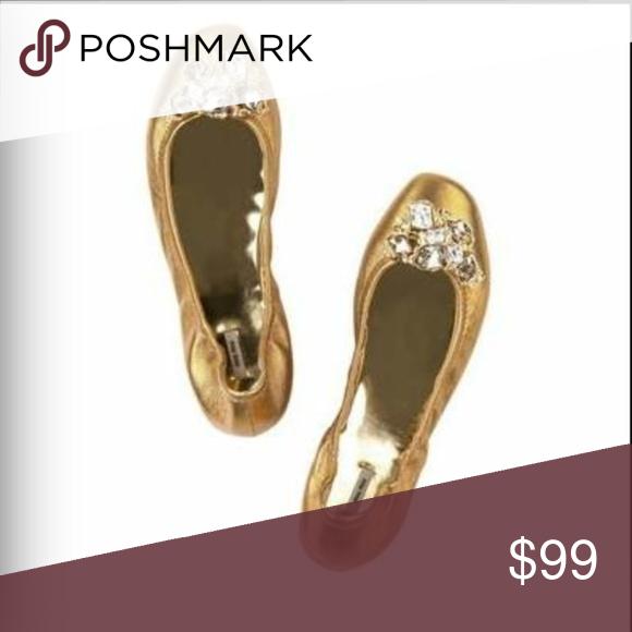 4c72b3236ee MIU MIU Gold Jeweled Ballet Flats size 38 Authentic Miu Miu Donna  Bronze Gold ballet