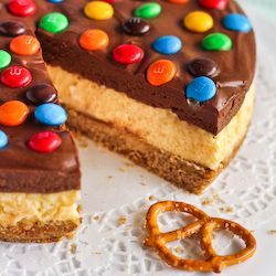 Pretzel and M&M Cheesecake - chocolate mousse cheesecake with a salted pretzel crust