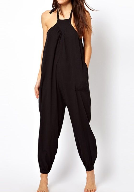 ddedccecfb4 Black Plain High Waist Loose Polyester Jumpsuit Pants