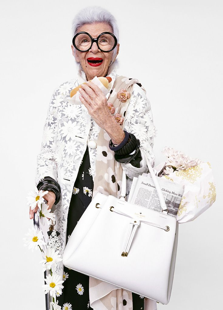 """iris apfel is a self-described """"geriatric starlet,"""" interior designer, fashion muse, model and rare bird. she's known not only for her ability to sport red lipstick, oversized specs and armfuls of bangles with serious panache, but for being the star of a metropolitan museum of art costume institute exhibition and subject of the albert maysles documentary iris."""