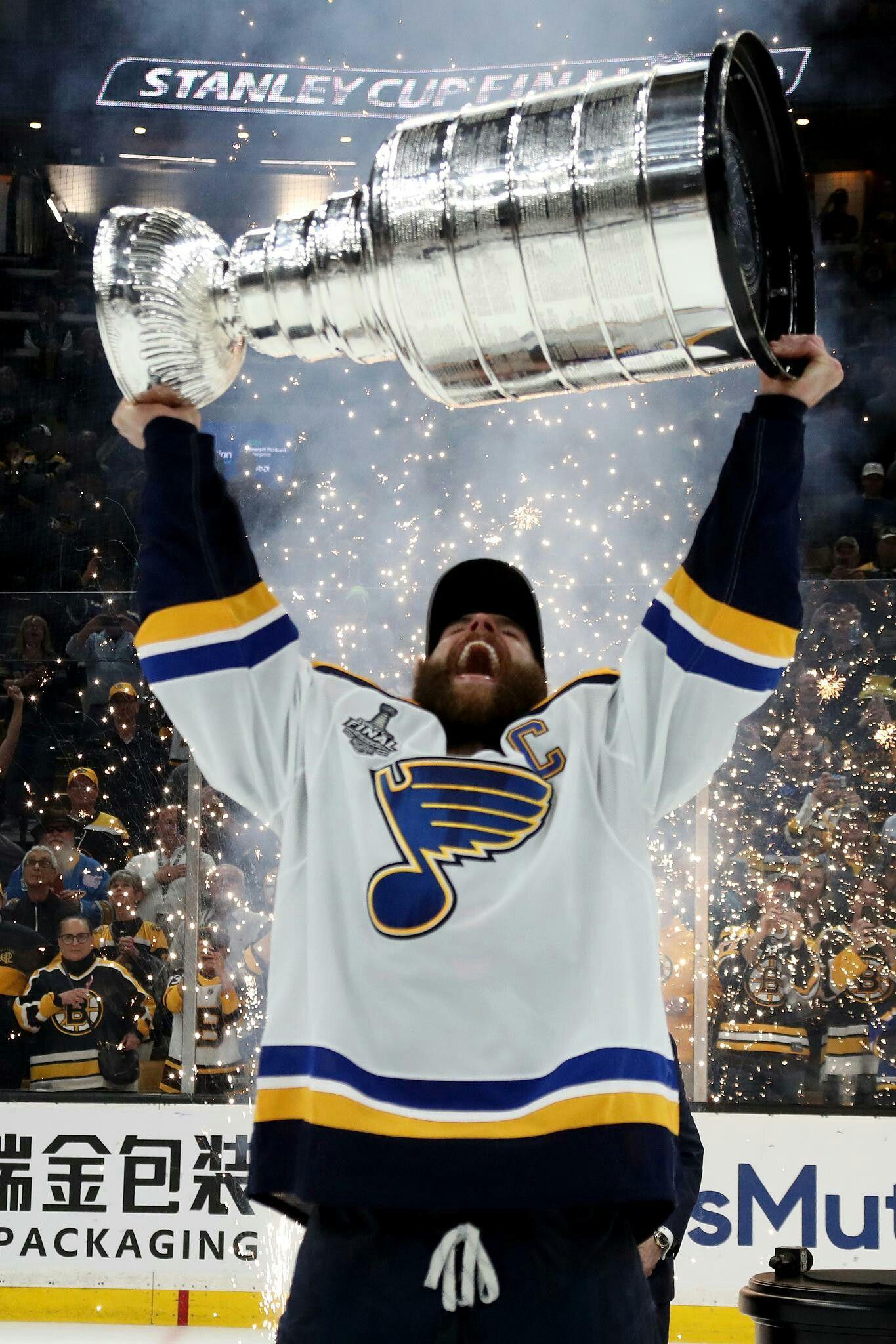 Team Captain Alex Pietrangelo raises the Stanley Cup for the St ...