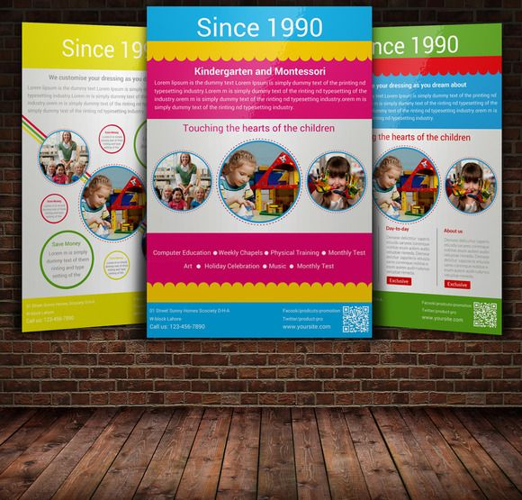 Kindergarten Flyer With  Layouts  Psd Templates Flyer Template