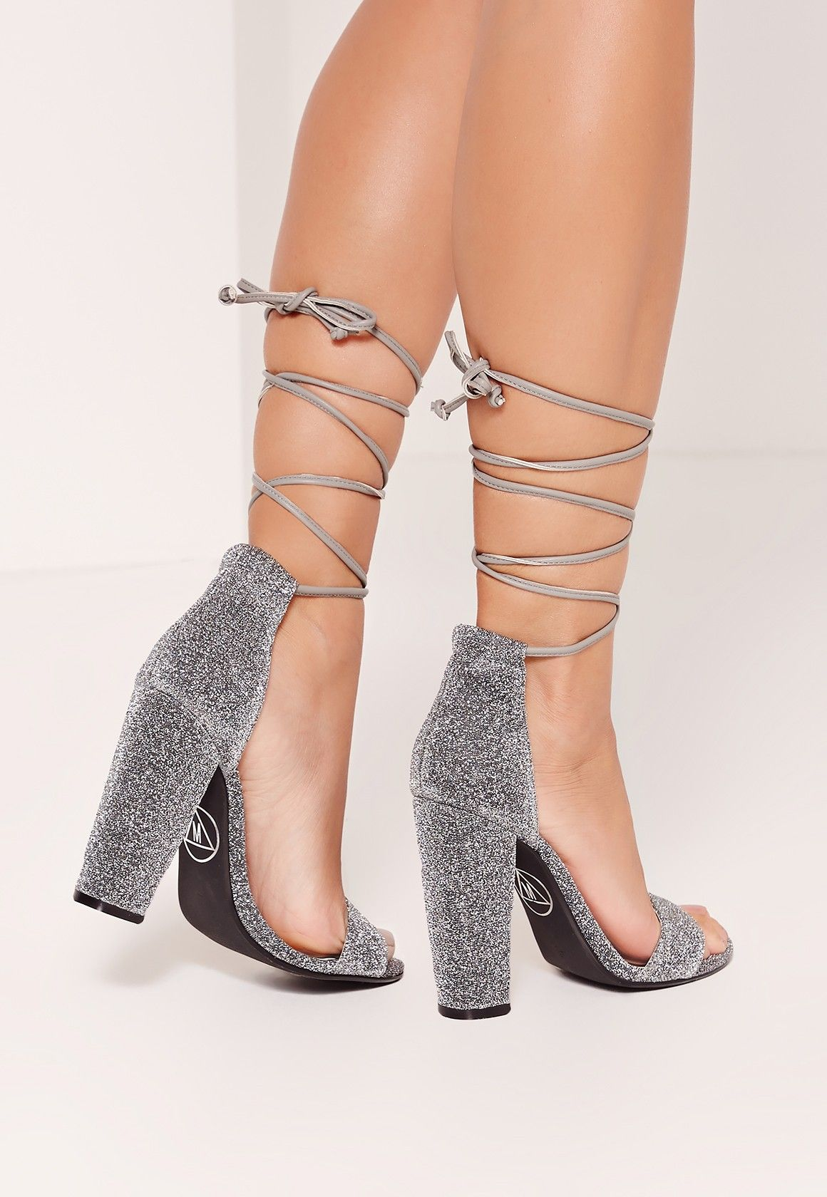 Missguided - Wrap Around Strap Glitter Block Heel Silver  5c2ee70ec75a