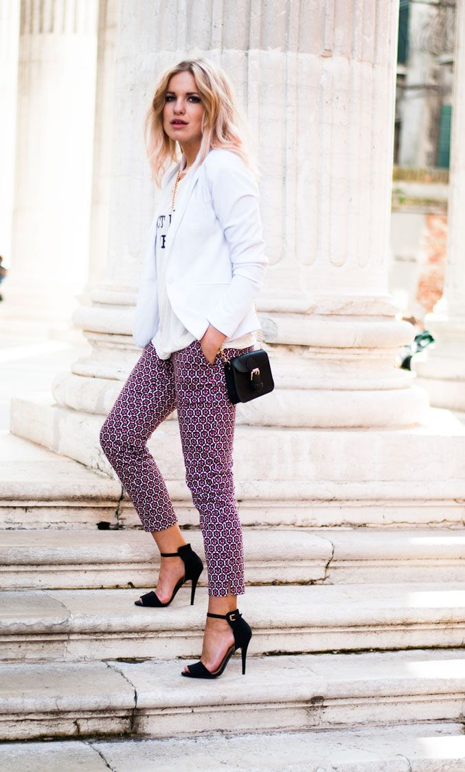 printed pants, ankle strap sandals and a simple top // perfect for work