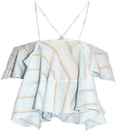 RACHEL COMEY Clearly plunging fluted-trim jacquard top