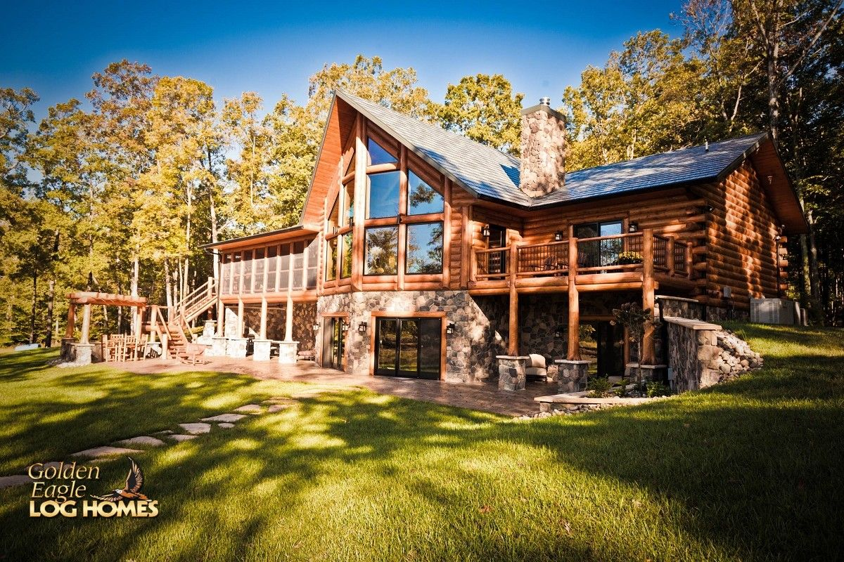 Log home by golden eagle log homes golden eagle log logs for Log cabin basement ideas