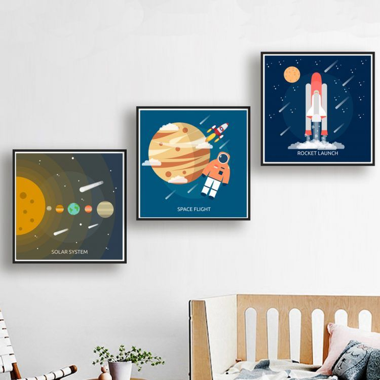 Modern space canvas posters kids room art prints poster